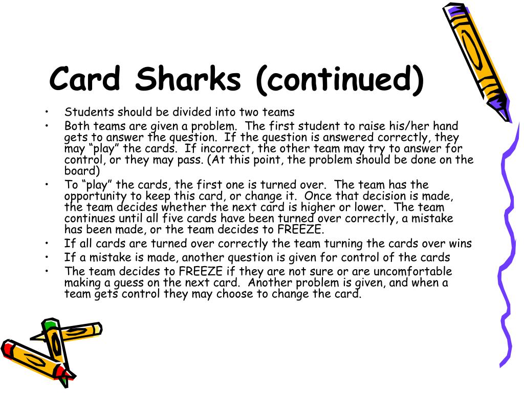 Card Sharks (continued)