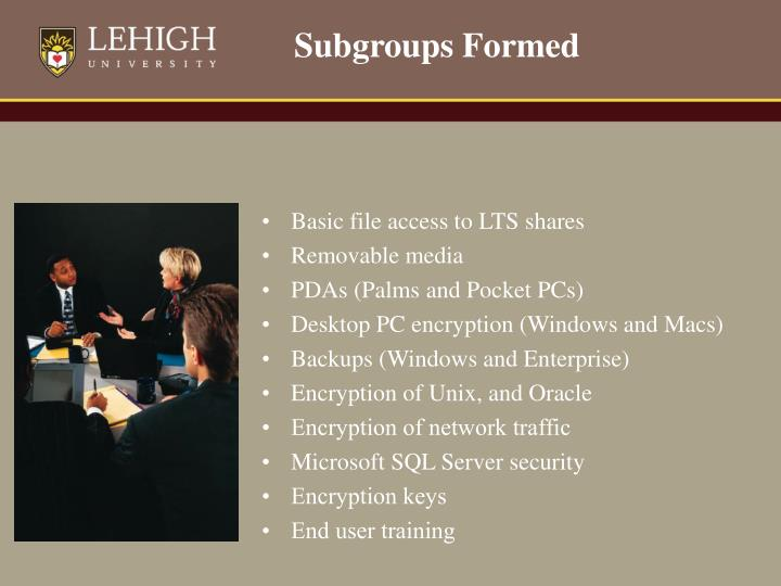 Subgroups Formed