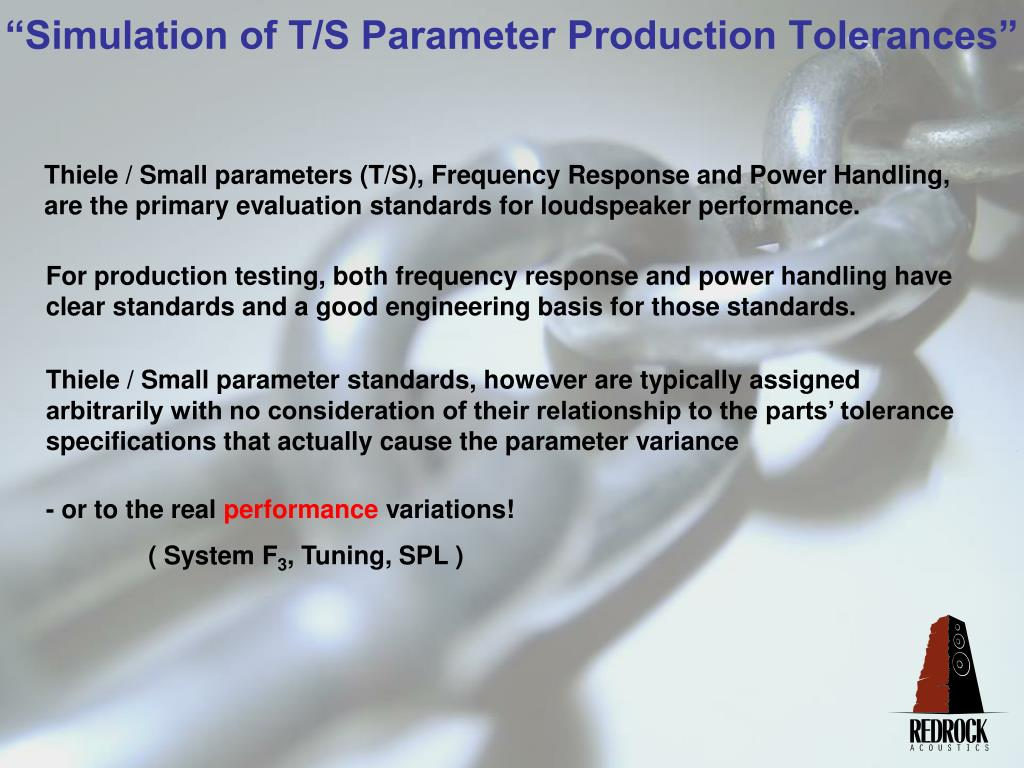 Thiele / Small parameters (T/S), Frequency Response and Power Handling, are the primary evaluation standards for loudspeaker performance.