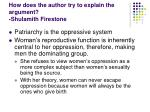 how does the author try to explain the argument shulamith firestone