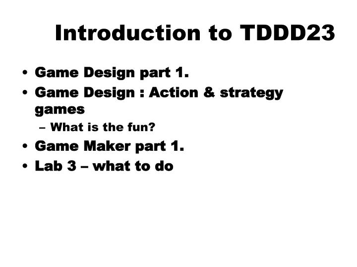 Introduction to tddd23