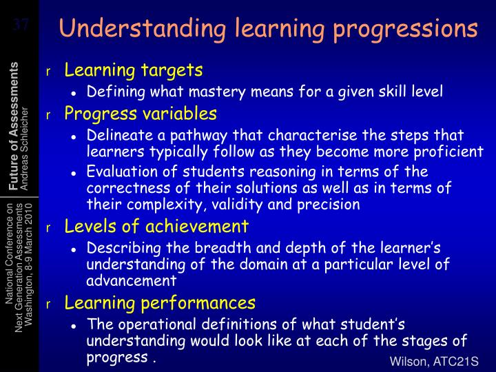 Understanding learning progressions