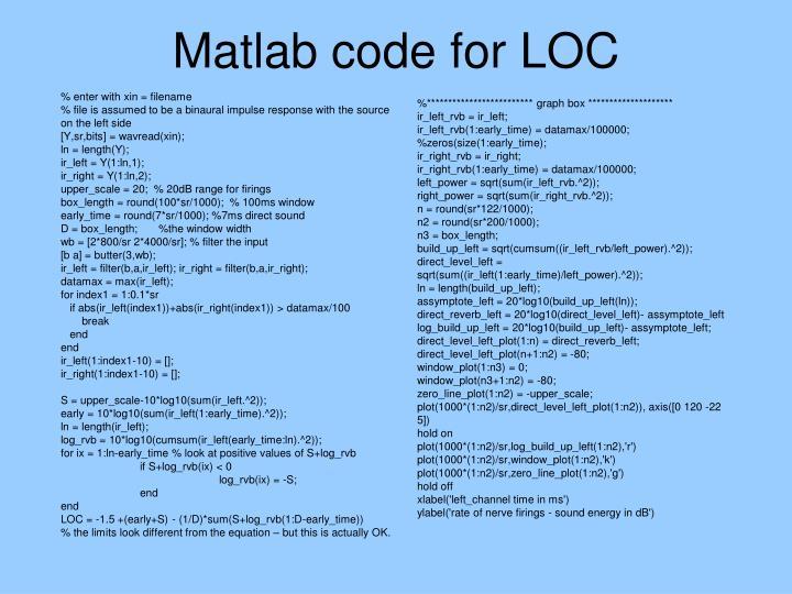 Matlab code for LOC