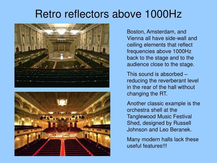 Retro reflectors above 1000Hz