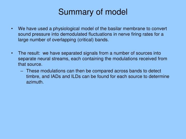 Summary of model