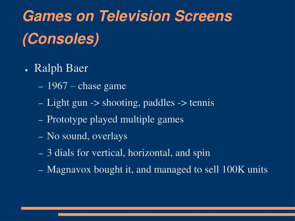 Games on Television Screens (Consoles)