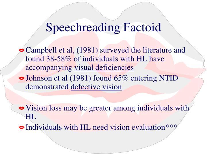 Speechreading Factoid