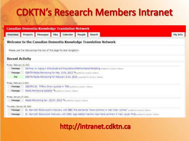 CDKTN's Research Members Intranet