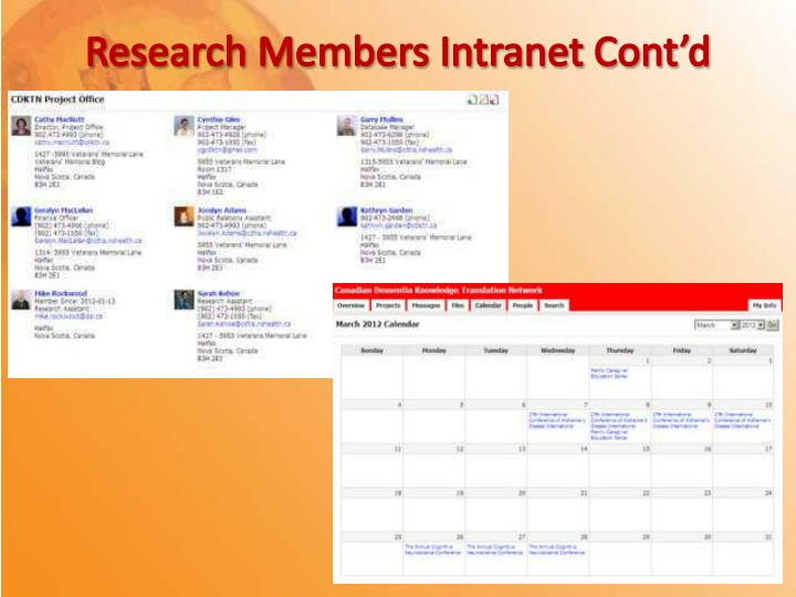 Research Members Intranet Cont'd