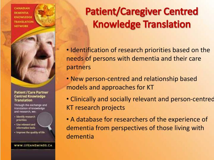Patient/Caregiver Centred Knowledge Translation