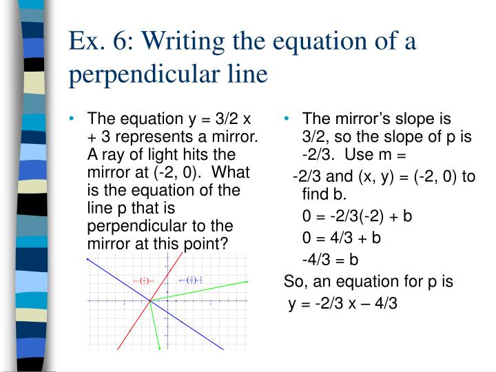 The equation y = 3/2 x + 3 represents a mirror.  A ray of light hits the mirror at (-2, 0).  What is the equation of the line p that is perpendicular to the mirror at this point?