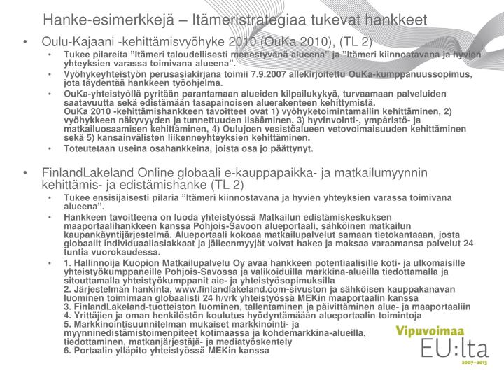 Hanke-esimerkkejä – Itämeristrategiaa tukevat hankkeet