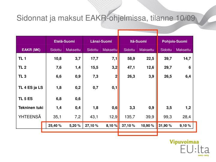 Sidonnat ja maksut EAKR-ohjelmissa, tilanne 10/09