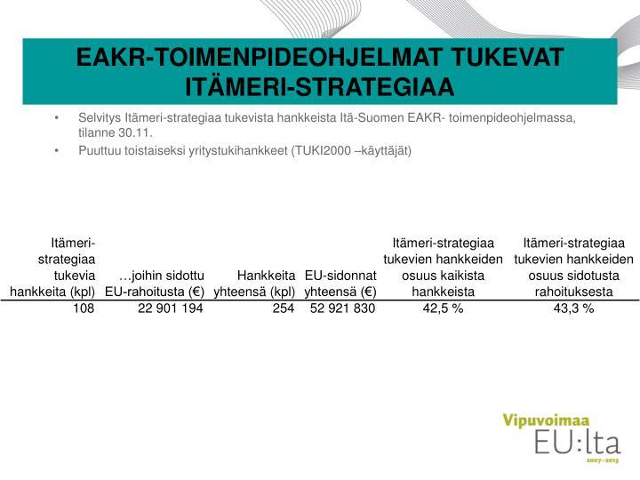EAKR-TOIMENPIDEOHJELMAT TUKEVAT ITÄMERI-STRATEGIAA