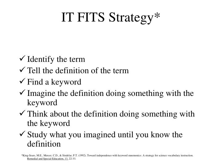 IT FITS Strategy*