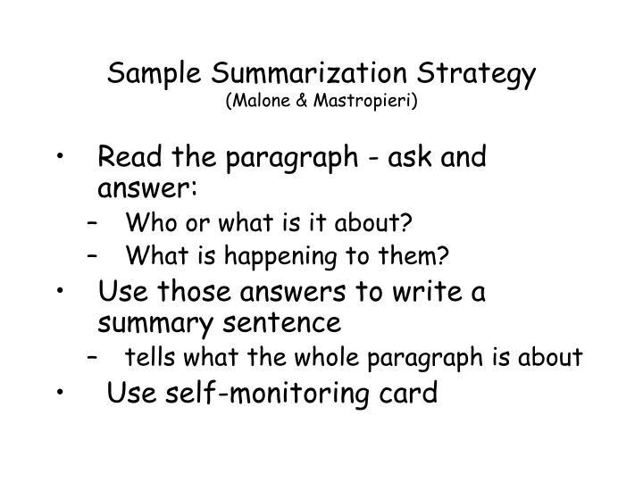 Sample Summarization Strategy