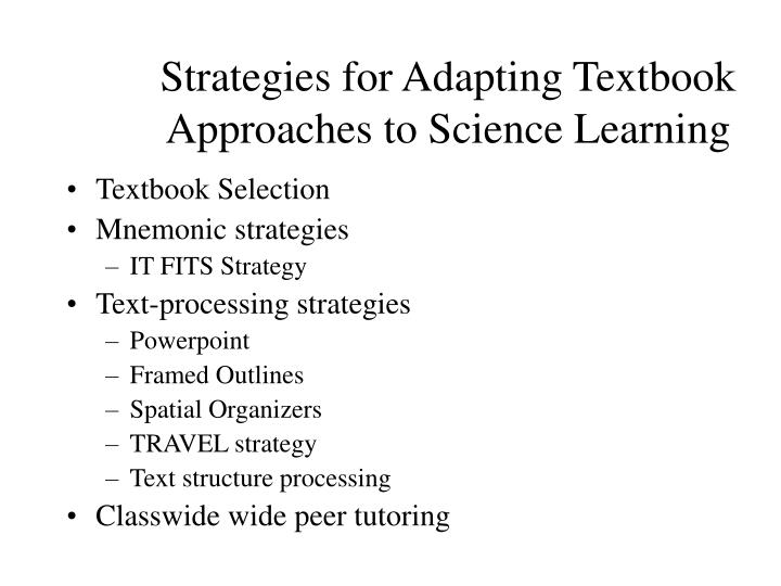 Strategies for Adapting Textbook Approaches to Science Learning