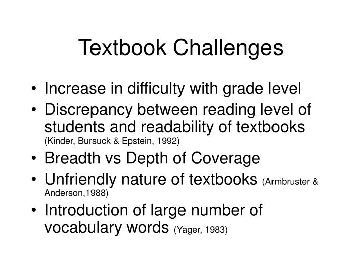 Textbook Challenges
