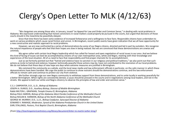 Clergy s open letter to mlk 4 12 63