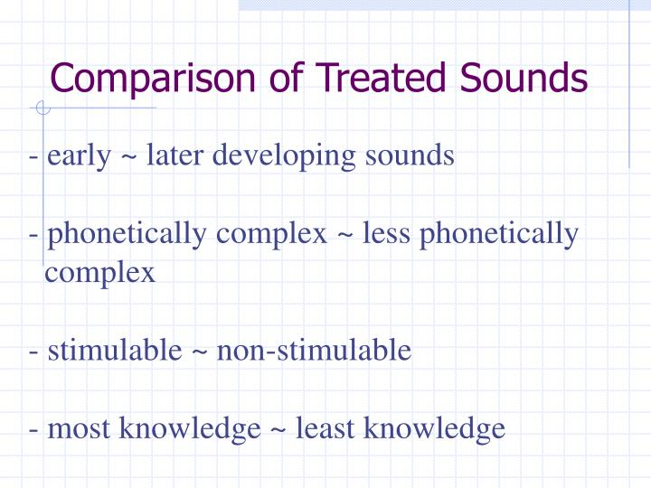 Comparison of Treated Sounds