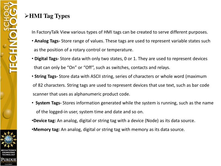 HMI Tag Types