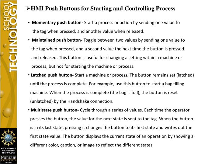 HMI Push Buttons for Starting and Controlling Process
