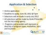 application selection