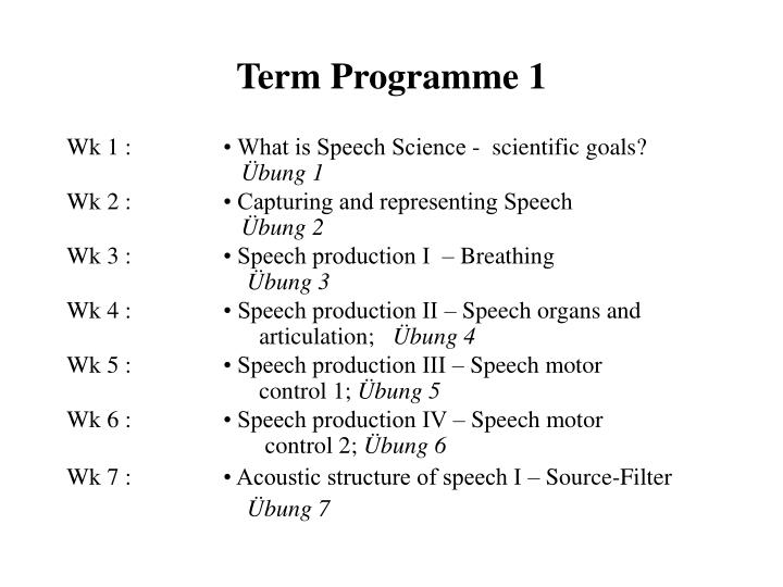 Term Programme 1