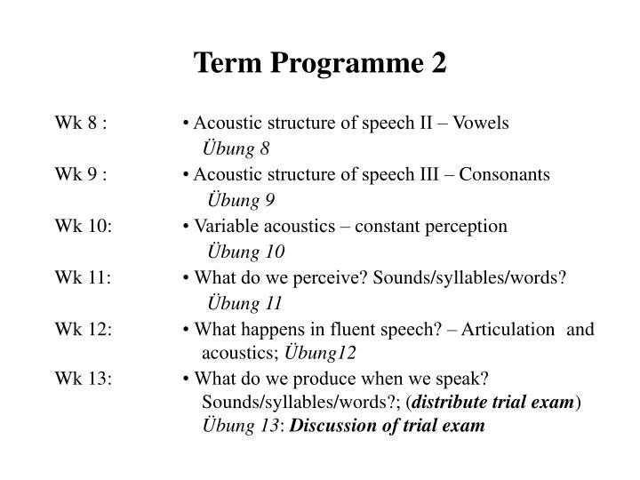 Term Programme 2