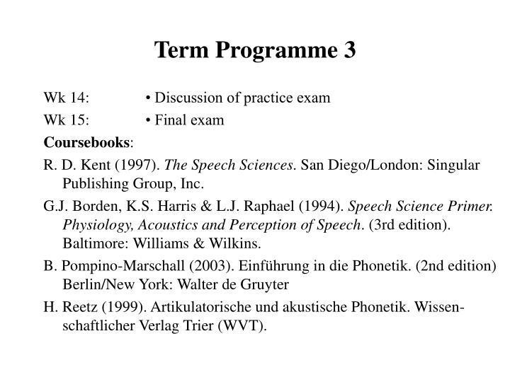 Term Programme 3