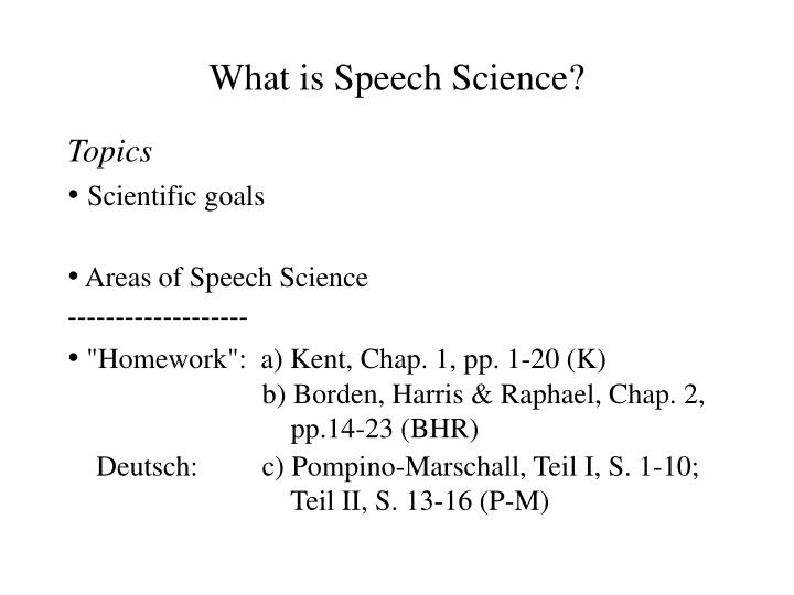 What is Speech Science?