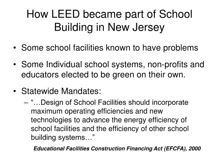 How LEED became part of School Building in New Jersey