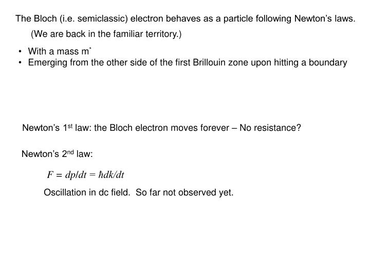 The Bloch (i.e. semiclassic) electron behaves as a particle following Newton's laws.