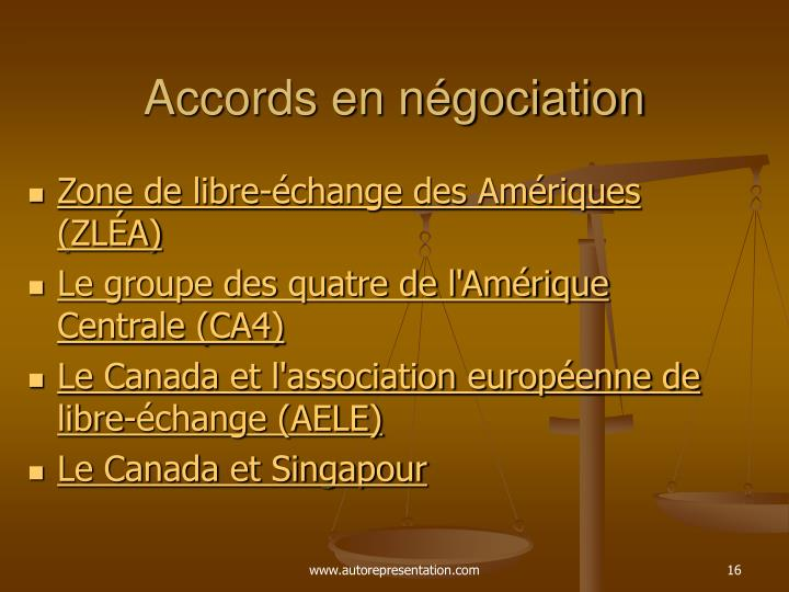 Accords en négociation