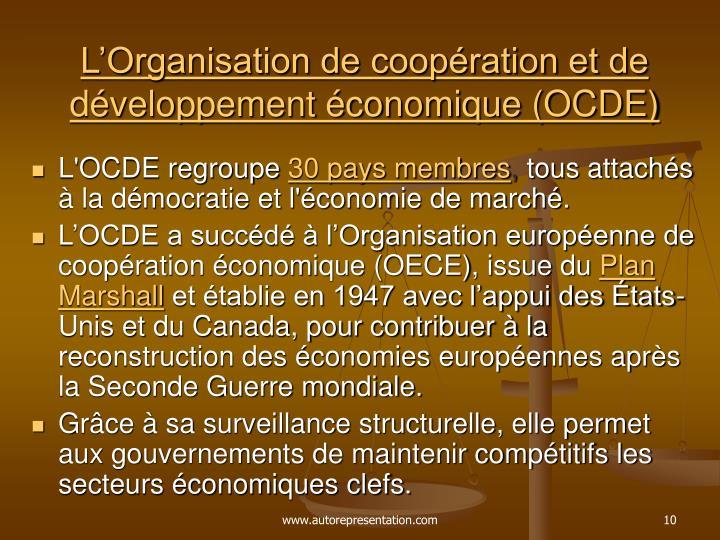 L'Organisation de coopération et de développement économique (OCDE)