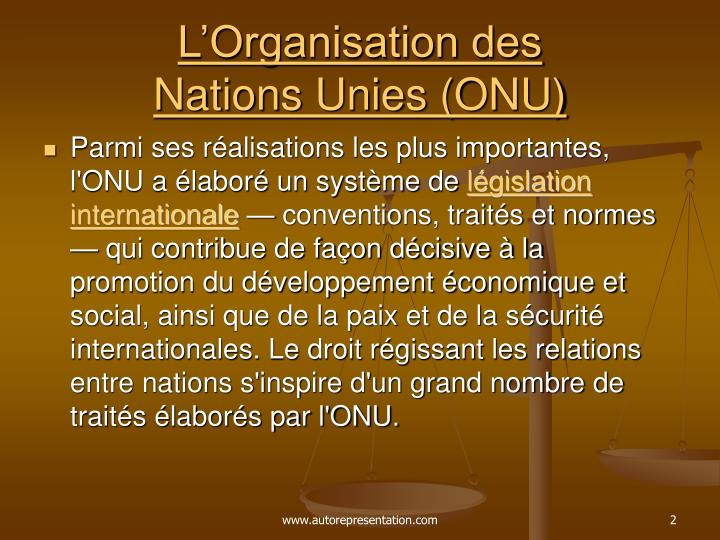 L organisation des nations unies onu