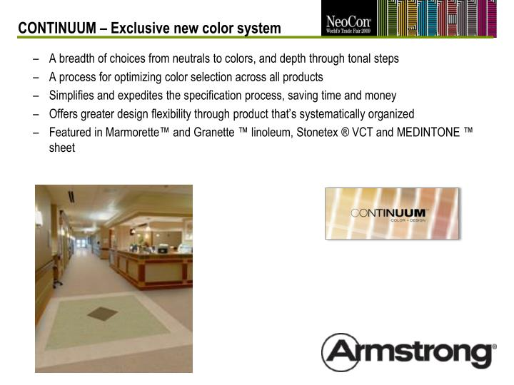 CONTINUUM – Exclusive new color system
