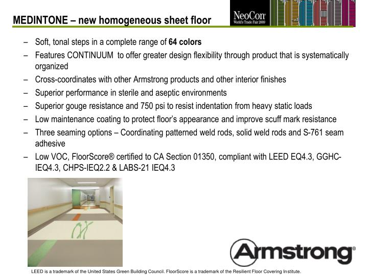 MEDINTONE – new homogeneous sheet floor