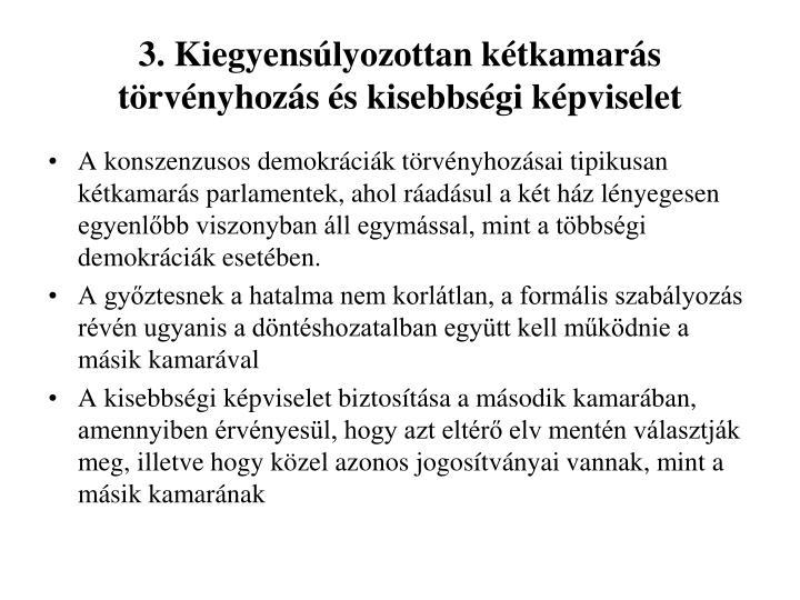 3. Kiegyensúlyozottan kétkamarás törvényhozás és kisebbségi képviselet