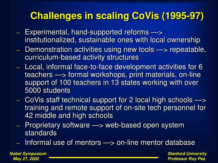 Challenges in scaling CoVis (1995-97)