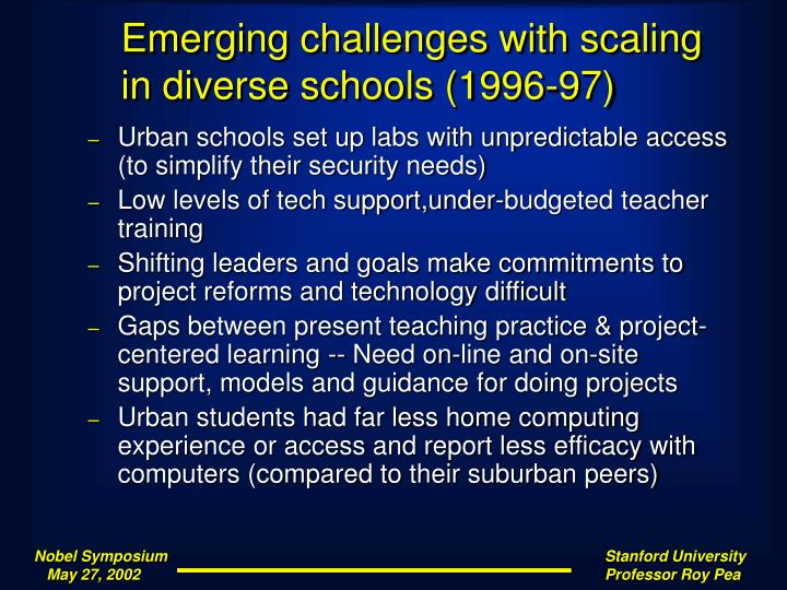 Emerging challenges with scaling in diverse schools (1996-97)