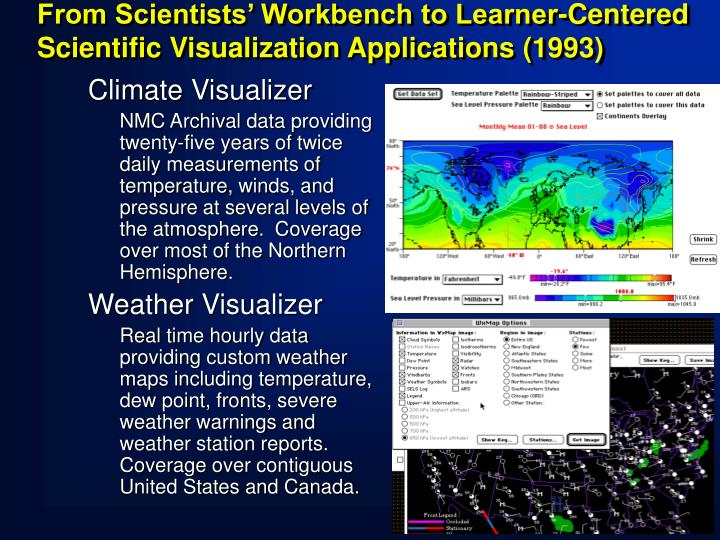 From Scientists' Workbench to Learner-Centered Scientific Visualization Applications (1993)
