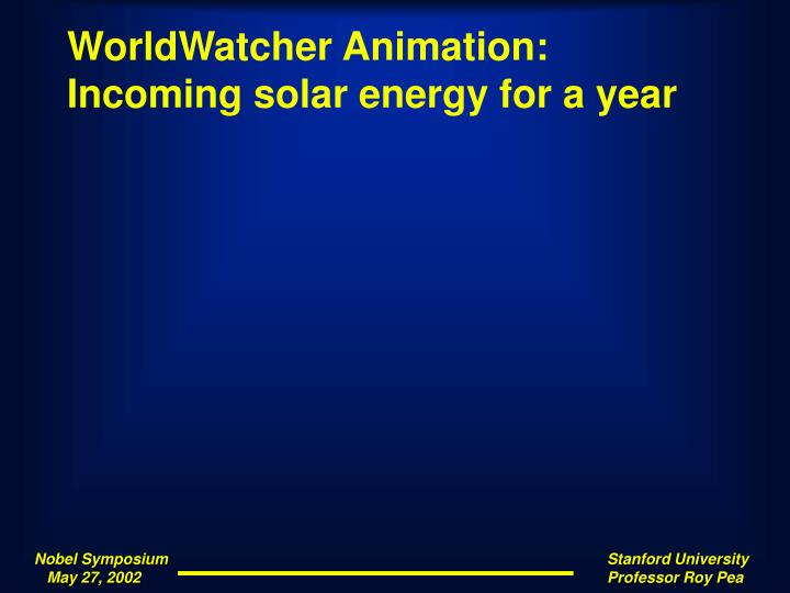 WorldWatcher Animation: Incoming solar energy for a year