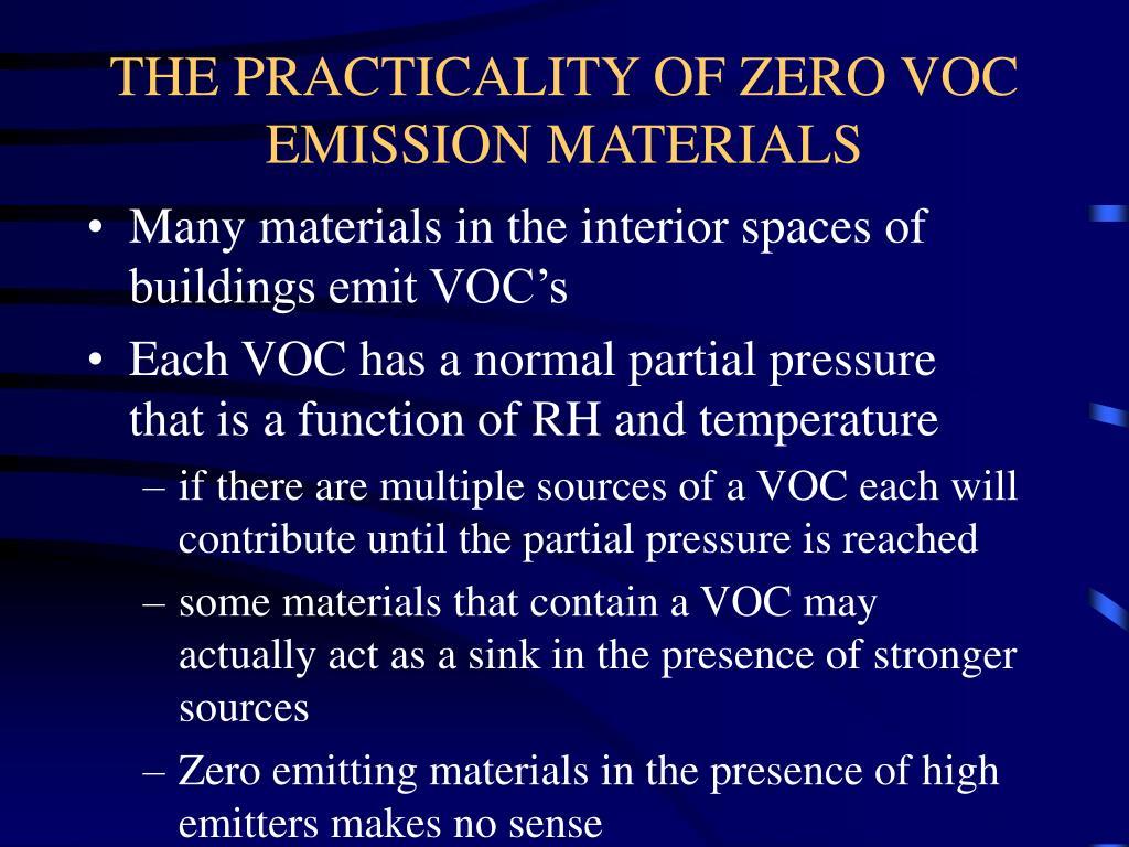 THE PRACTICALITY OF ZERO VOC EMISSION MATERIALS