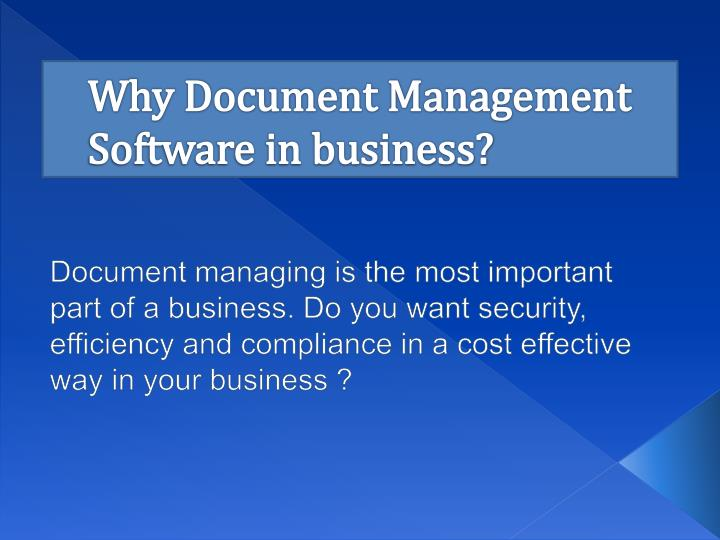 Why document management software in business