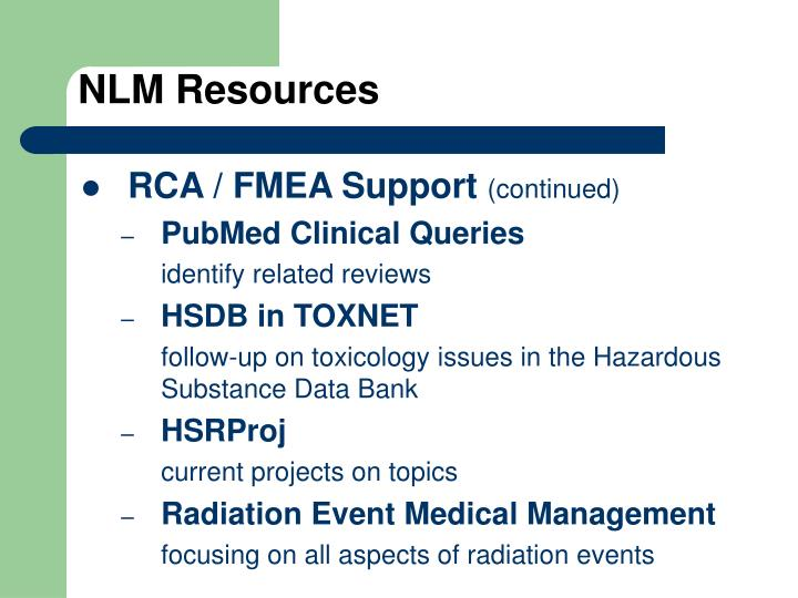 NLM Resources