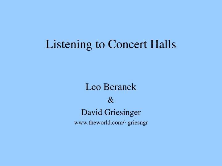 Listening to Concert Halls