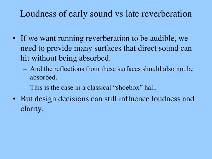 Loudness of early sound vs late reverberation