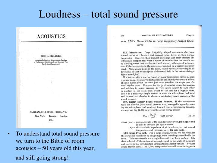 Loudness – total sound pressure