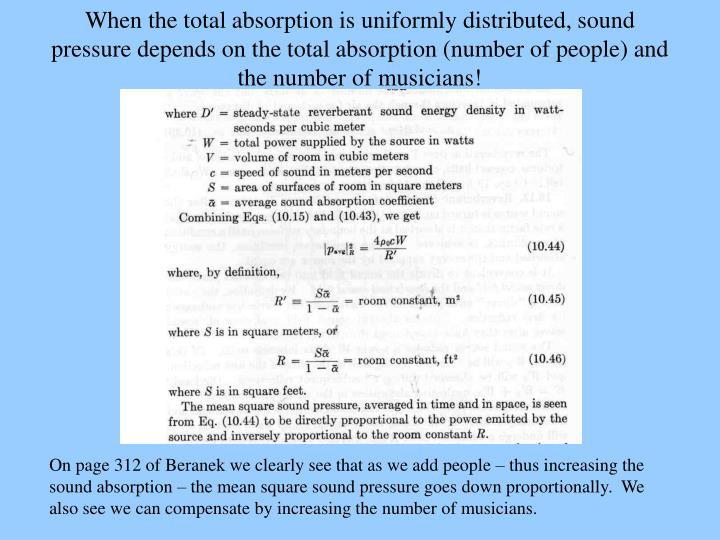 When the total absorption is uniformly distributed, sound pressure depends on the total absorption (number of people) and the number of musicians!